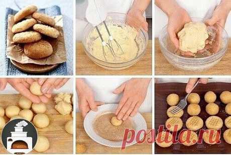 Вкусное рассыпчатое печенье с корицей   Мука — 260 г  Мягкое сливочное масло — 120 г  Мелкий сахар — 100 г  Яйцо — 1 шт.  Разрыхлитель — 0,5 ч. л.    Для посыпки:  Сахар — 4 ст. л.  Молотая корица — 2 ст. л.     1. Взбейте яйцо с сахаром в пышную пену. Добавьте размягченное сливочное масло и снова взбивайте, пока не получится однородный крем.  2. Просейте муку с разрыхлителем и добавьте в масляный крем. Аккуратно перемешайте, у вас должно получиться мягкое тесто. Скатайте ...