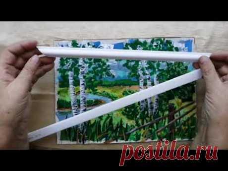 Картина в лоскутной технике и оформление в рамочку из потолочного плинтуса.