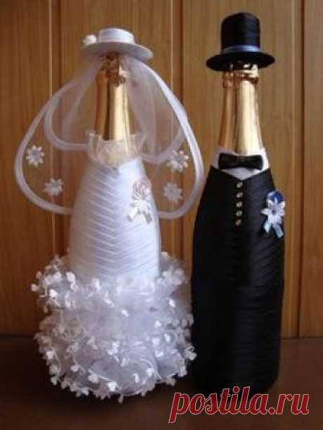 Как оформить свадебные бутылки