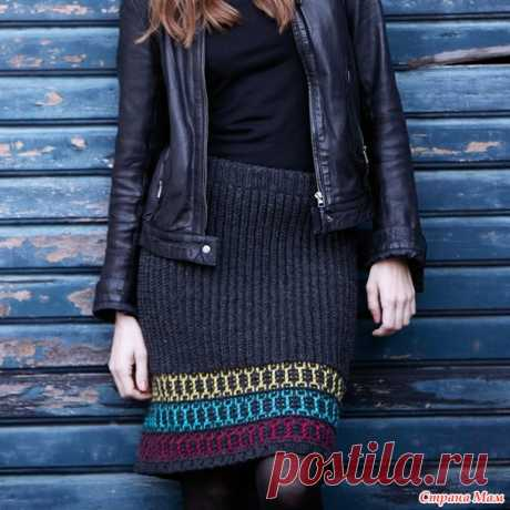 . A warm direct skirt with a color border - Knitting - the Country of Mothers