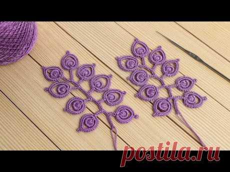 ВЕТОЧКА ЛИСТИКОВ вязание крючком МАСТЕР-КЛАСС мотив для ирландского кружева Crochet Irish lace