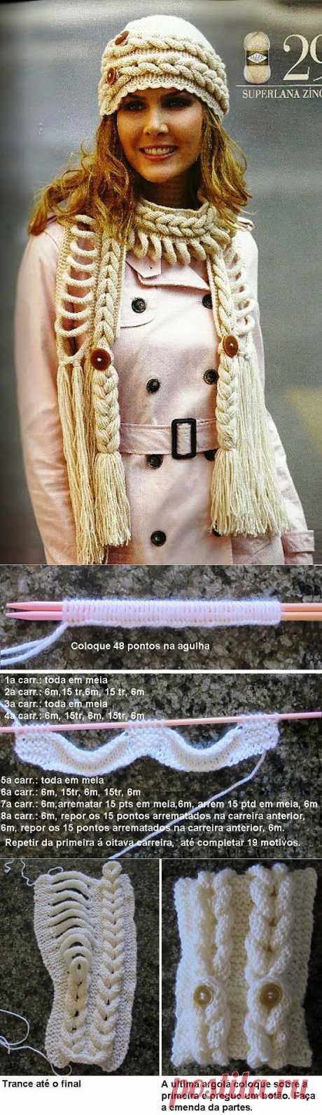 Шапочка и шарф в необычной технике / Вязание /