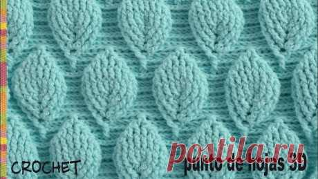 Punto hojas 3D (¡con mucho relieve!) tejido a crochet - Tejiendo Perú Lindo punto tejido a crochet en 3D con diseño de hojas en relieve intercaladas. Este punto es múltiplo de 17 + 3 cadenas y se repiten 20 hileras para tejerlo...