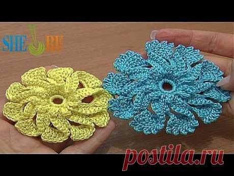 Вязание крючком Урок 51 Цветок с лепестками украшенными пико из трех воздушных петель - YouTube