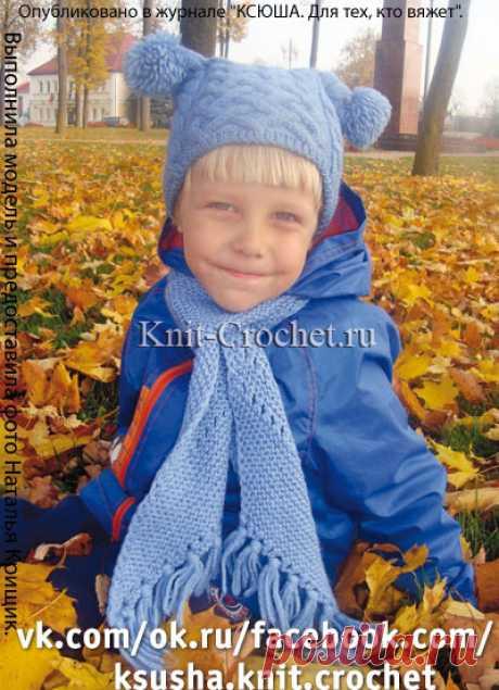 Шапочка и шарф спицами для мальчика.