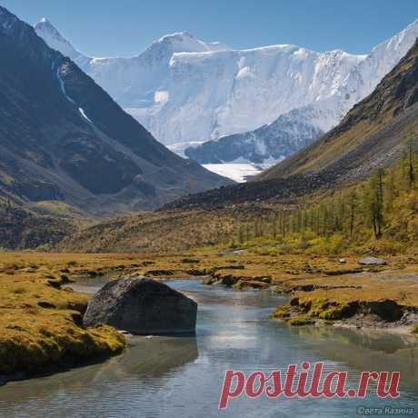 Гора Белуха и река Аккем, Горный Алтай. Автор фото – Светалана Казина: