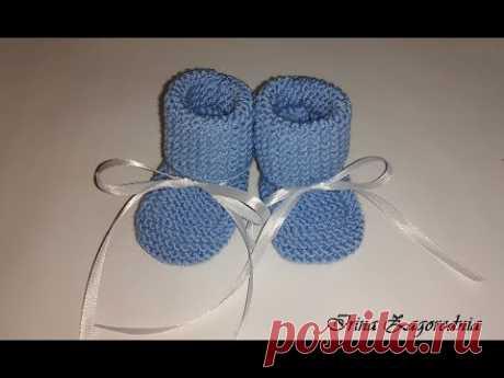 Пинетки спицами от 0 до 3 месяцев-вязание для начинающих.Пинетки для новорожденных