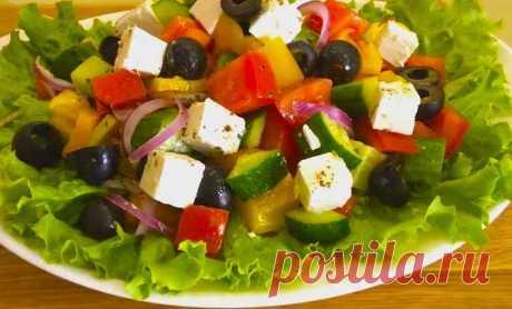 Салат Греческий - классический рецепт в домашних условиях Доброго времени суток! Наверно все хоть раз в своей жизни ели салат под великим названием Греческий. Возможно кто-то из вас