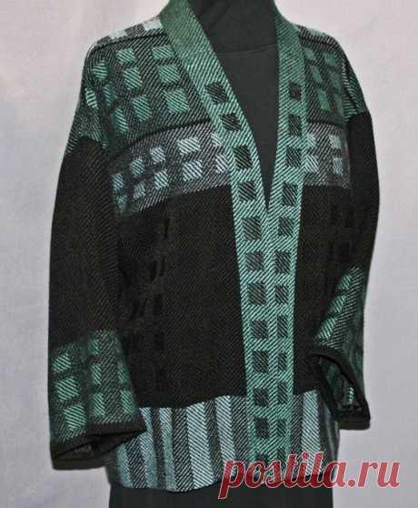 Blaugrün und schwarze Wolle handgewebte Jacke, handgewebte Wollmantel
