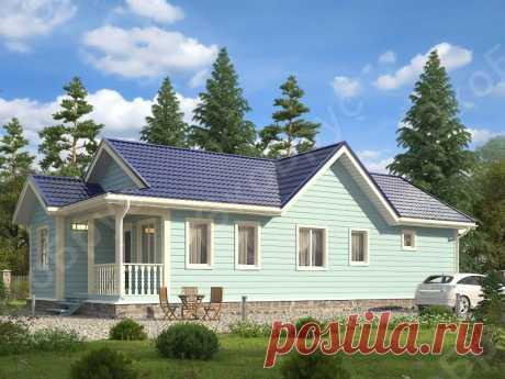 Одноэтажный узкий дом с тремя спальнями: вместительный и компактный гостевой домик | ЭкоБрус - каркасные дома | Яндекс Дзен