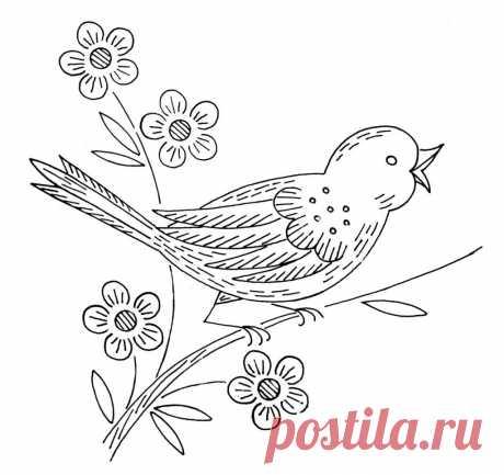 """Вышивка гладью  -- шаблоны для вышивки на тему """"Цветы и птицы""""   Вышивать эти рисунки можно простым швом по контуру , а можно и с заполнением элементов гладью. Эти простые рисунки для вышивки подойдут и для начинающих.  При желании вышитый рисунок можно декориров…"""