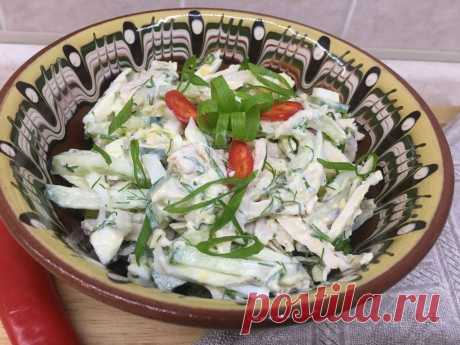 """Я не готовлю """"Оливье"""". Вместо него готовлю """"Шефский салат""""   Еда без труда   Пульс Mail.ru Очень вкусный, простой, сочный и свежий салат нравится всем, кто его пробовал."""