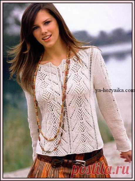 Пуловер спицами с ажурной вставкой. Женский ажурный пуловер спицами Кофточка спицами с ажурной вставкой. Ажурная кофточка с схемами и описанием для женщин