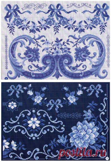 Монохромная вышивка крестом в синих тонах