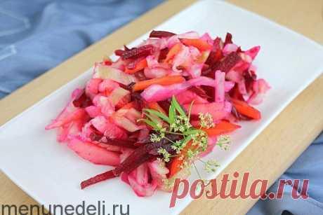 Салат овощной с яблоками и свеклой как в детском саду / Меню недели