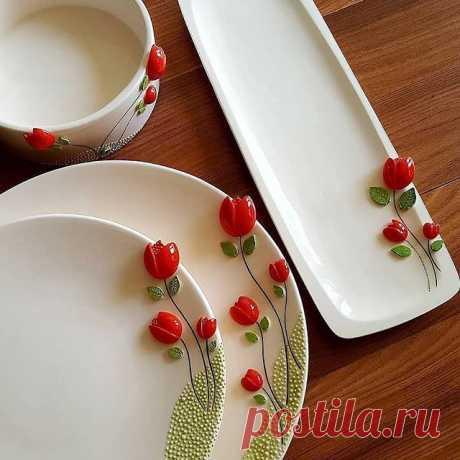 Чудесная керамическая посуда с цветами❤️ By @parisa_heydari54