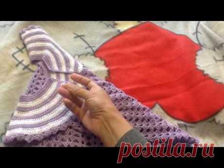 Платье крючком с круглой кокеткой. Часть 3. Готовая работа. - YouTube