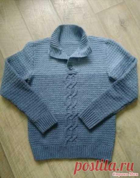 . Мужской свитер крючком Вот такой связался мужской свитер из нитки Alize lanagold 800 в две нити, крючком - 4.