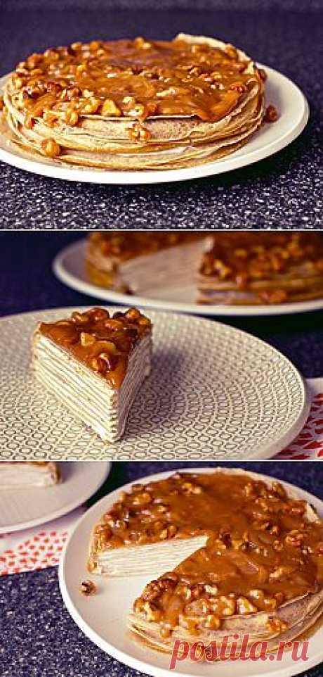 Рецепт приготовления блинного торта из бананов с йогуртом и глазурью из грецкого ореха | Рецепты приготовления