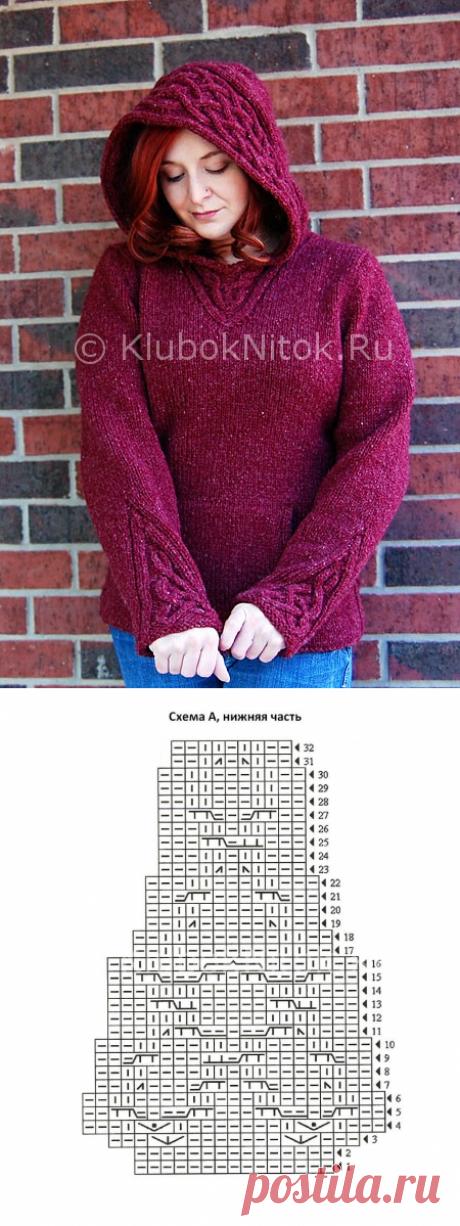 Пуловер с капюшоном | Вязание для женщин | Вязание спицами и крючком. Схемы вязания.