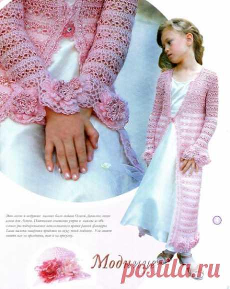 Кардиган для девочки крючком, 30 схем и описаний по вязанию
