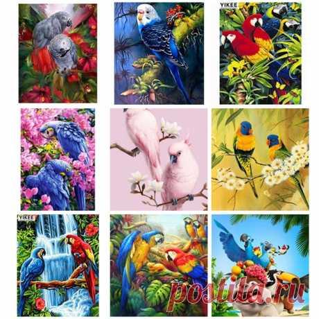 Алмазная вышивка с птицей, животными, полный квадрат, Алмазная мозаика, вышивка крестиком, попугай, алмазная вышивка купить на AliExpress