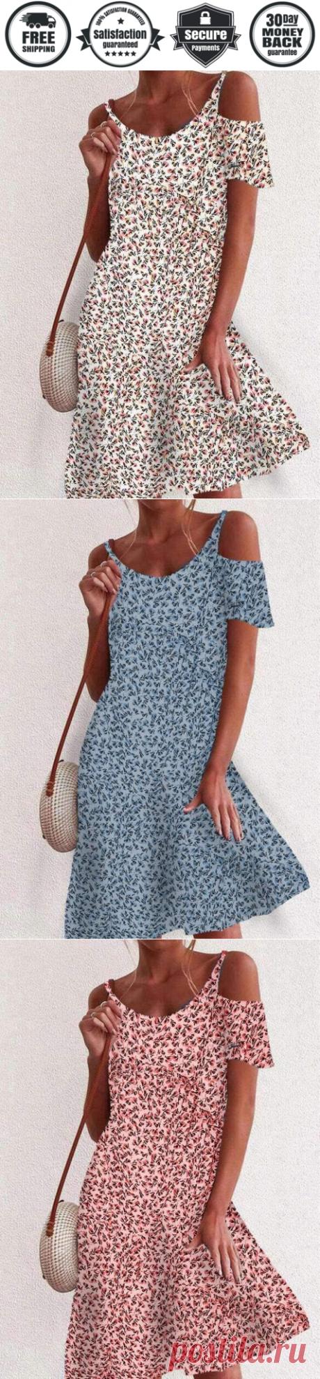 Fashion Floral print Round neck Vest Off shoulder Short sleeve Shift D - Cicicloth