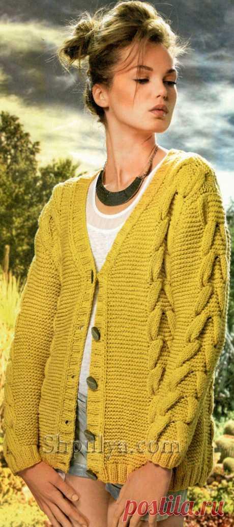 www.SHPULYA.com - Желтый жакет с косами спицами