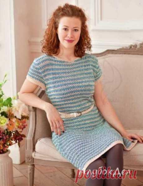 Платье в полоску спицами - Вязание для женщин спицами, выкройка с описание вязания