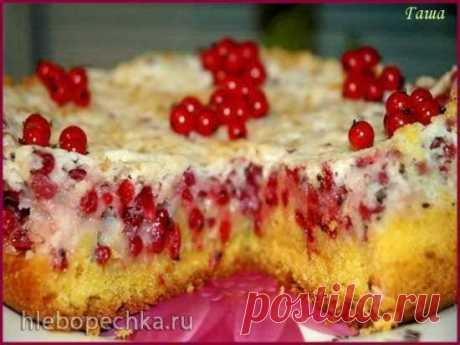 Пирог швабский с красной смородиной в мультиварке.