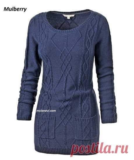 Вязаное платье спицами от Mulberry | Вяжем с Лана Ви