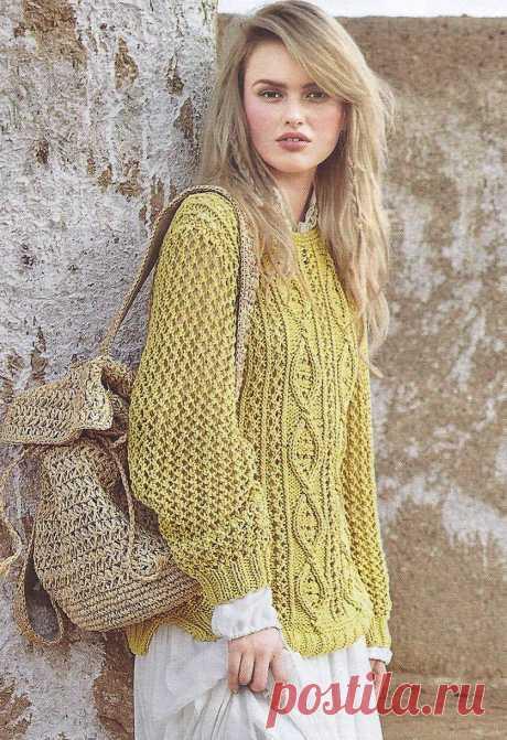 Пуловер с ажурными ромбами Размеры: 38/40 (42/44) 46/48 https://shemyvyazaniya.shemyuzorov.com/page/pulover-s-azhurnymi-rombami-2 #пуловер #пуловерспицами #вязаниеспицами #вязание #вязаныйпуловер #рукоделие #вязаниепуловера #handmade #knit #knitting