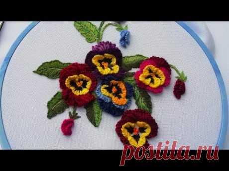 Flower embroidery:  Viola | Цветочная Вышивка :  Виола