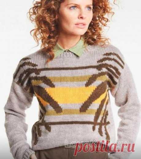 Цветной пуловер в технике интарсия схема спицами » Люблю Вязать