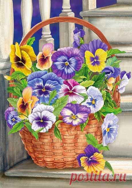 """El esquema del bordado \""""las flores\"""" - el Bordado por la cruz"""