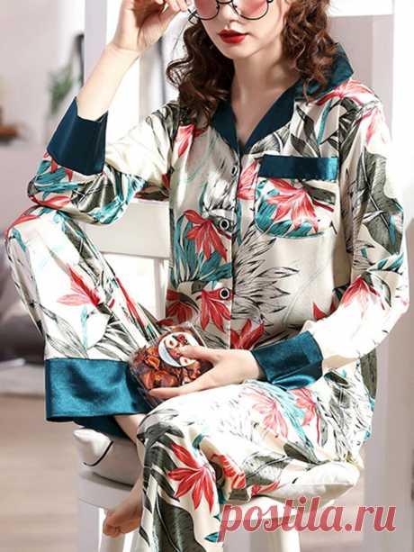 Women Plant Leaves Print Long Sleeve Two Piece Home Pajamas Set - US$26.99