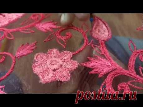Thread work to create amazing designs on a lehenga - YouTube