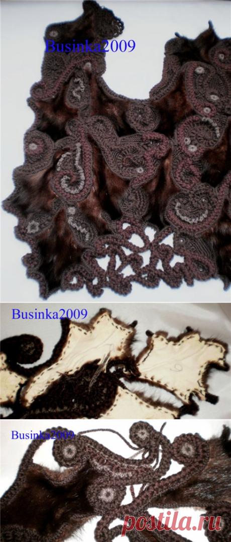 Соединение кусочков меха с вязанием в технике фриформ - Вязание - Моя копилочка