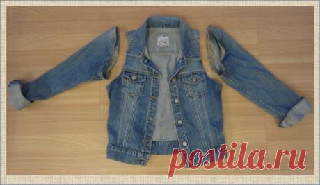 Переделка: джинсовый жилет из джинсовой куртки или рубашки - 50 примеров отделки в коллажах   МНЕ ИНТЕРЕСНО   Яндекс Дзен