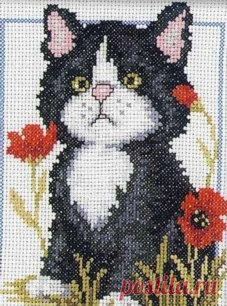 """Набор для вышивания РТО """"Чёрный котёнок"""", 12x16 см"""