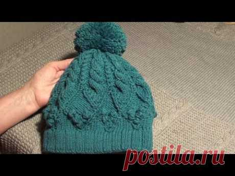 Тёплая вязаная шапка спицами. Видео мастер-класс