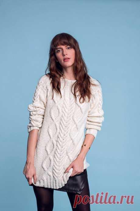 Пуловер с узором ромбы спицами. Как связать ромб спицами |