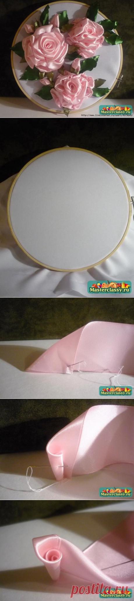 """МК вышивки лентами - """"Розовое настроение"""". Очень подробно и доходчиво"""