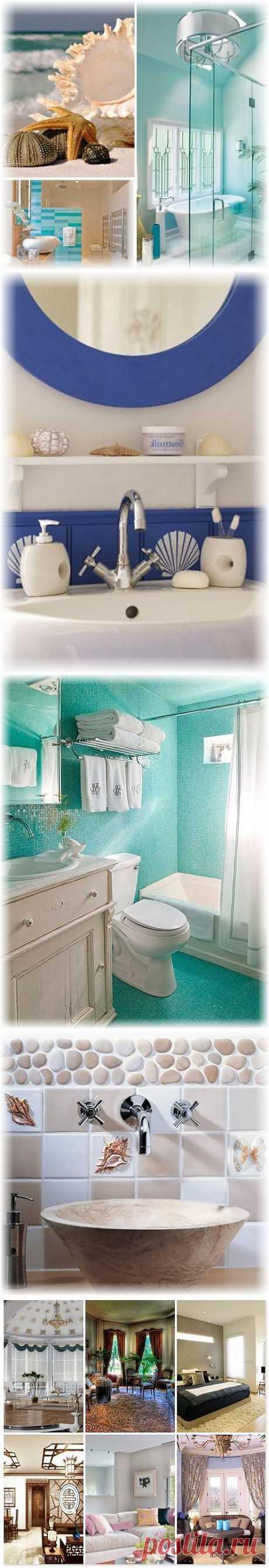 Спокойный цвет ванной комнаты в морском стиле