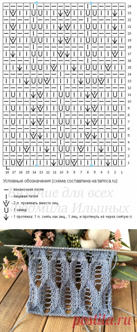 Ажурный узор спицами для летних изделий. | Вязание для всех Людмила Ильиных | Яндекс Дзен