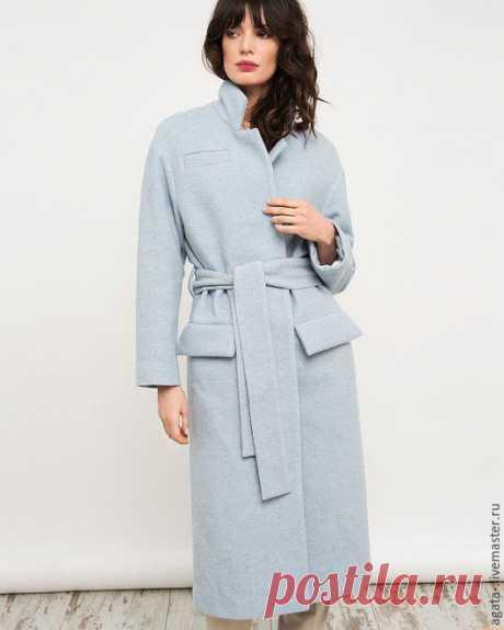 Купить пальто нежно-голубое - голубой, однотонный, теплая одежда, пальто на подкладе, на заказ