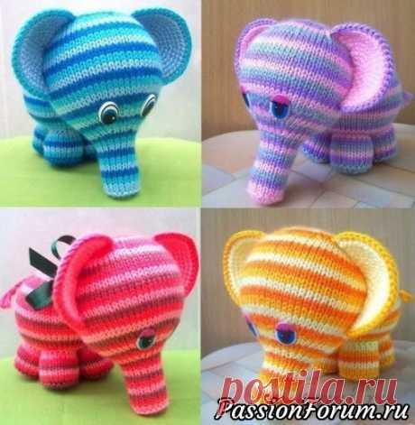 Милый слоник спицами из интернета | Вязаные игрушки. Мастер-классы, схемы, описание.