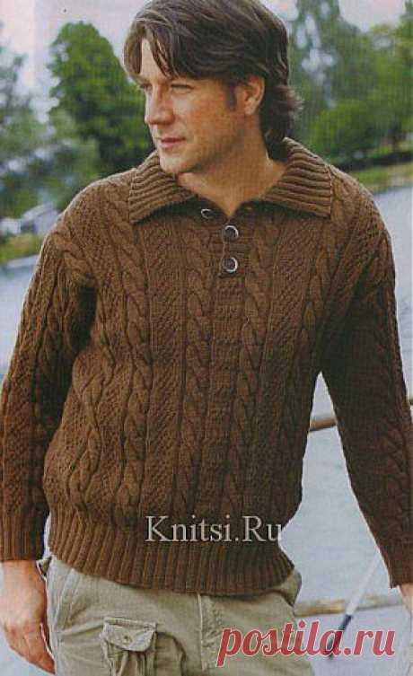 Пуловер с вырезом поло. Вязание для мужчин / Пуловеры / Спицами