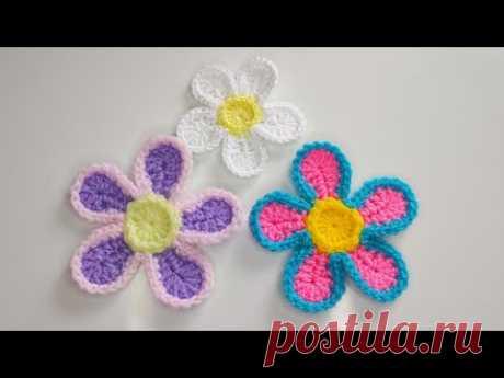 Как связать крючком цветы  из остатков пряжи