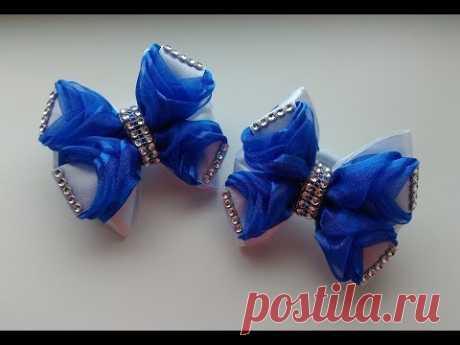 Нарядные праздничные бантики из лент МК Канзаши / Elegant festive ribbons from ribbons